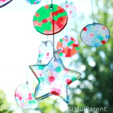 A Melted Bead Suncatcher Mobile Made with Fun Shapes Featured Image