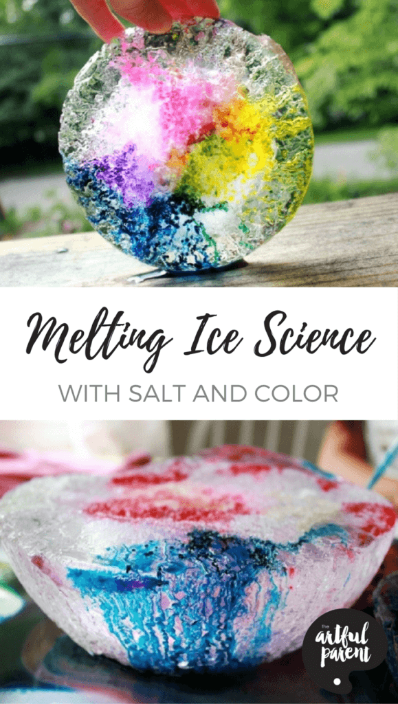 This melting ice science experiment uses salt to melt tunnels in the ice and color to highlight the tunnels. Beautiful and fun for kids and adults alike! #kidsactivities #scienceforkids #summerfun #colorful #kids