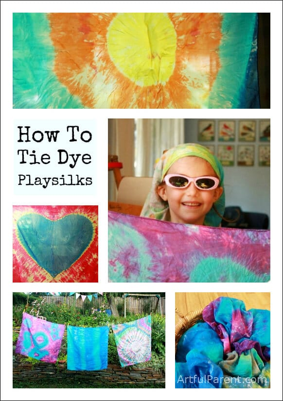 Step by step instructions on how to tie dye scarves and playsilks, including how to make tie dye hearts, sunbursts, and other fun designs.