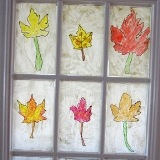 Melted Crayon Autumn Leaves Stained Glass