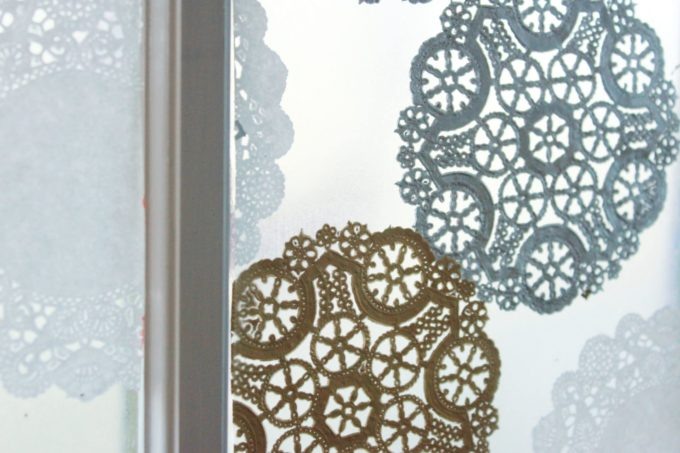 wintry window with doilies