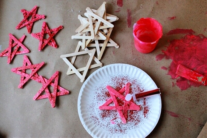 Painting stars with glitter