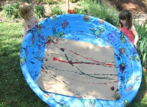 Summer Art Activities for Kids – ball painting in swimming pool