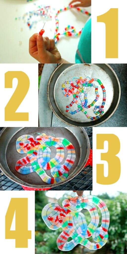 Make easy and beautiful melted bead art and free-form suncatchers and mobiles using translucent pony beads, thread or wire, a metal pan, and a grill. #suncatchers #crafts #craftsforkids #artsandcrafts #bead