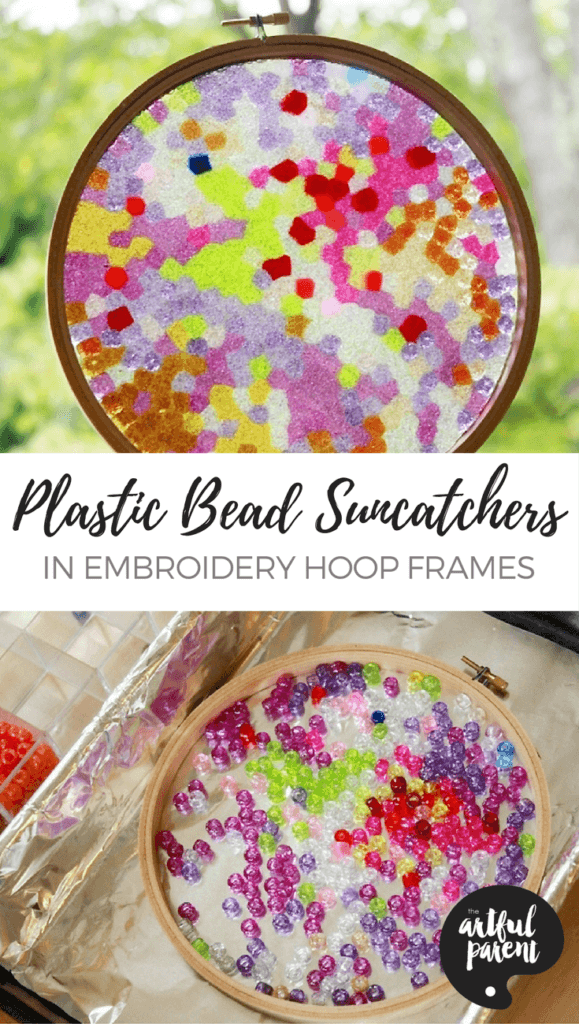 Plastic Bead Suncatchers in Embroidery Hoop Frames