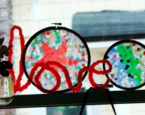 Melted Bead Suncatcher Words