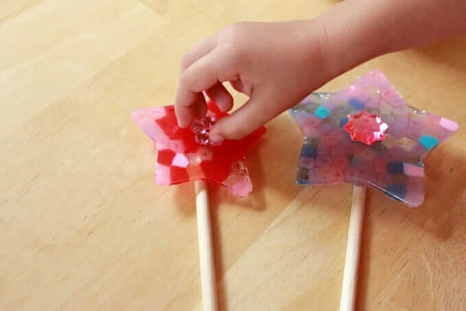 Fairy Wands With Melted Pony Beads - place jewel on star wand