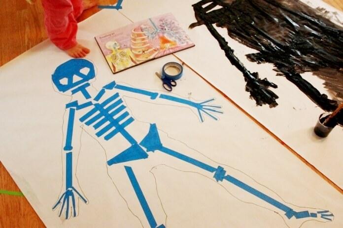 Tape Resist Skeleton Painting 09