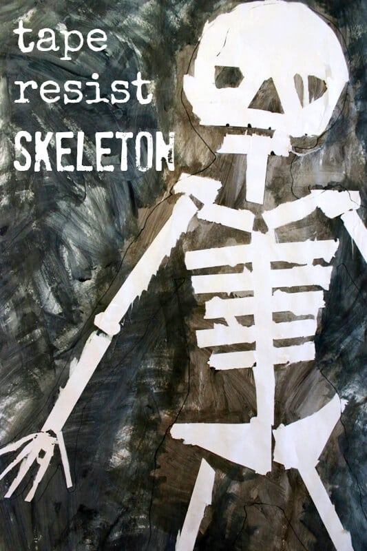 Tape Resist Skeleton Paintings – Halloween Art Ideas for Kids