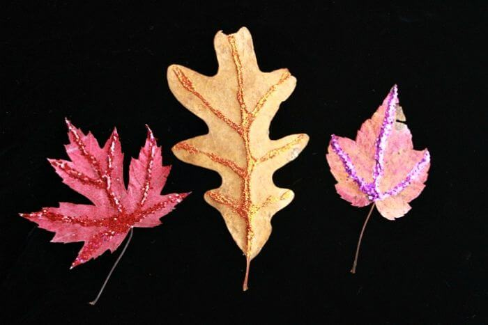 Glitter Leaves - crafts with fall leaves