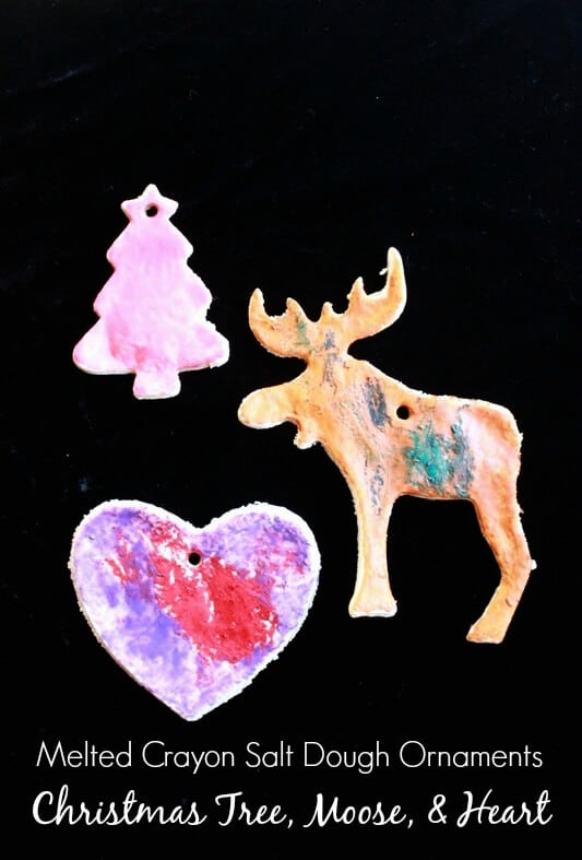 Melted Crayon Salt Dough Ornaments -- Christmas Tree, Moose, and Heart