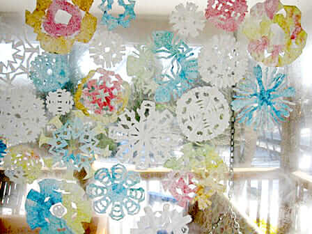 11 Christmas Craft Ideas for kids - coffee filter snowflakes
