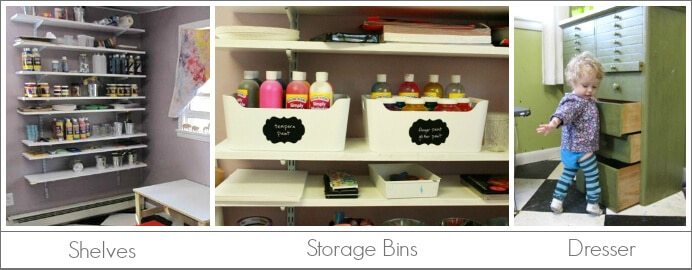 Kids Art Tools to Store and Organize Art Supplies, including shelves, dresser, and storage bins