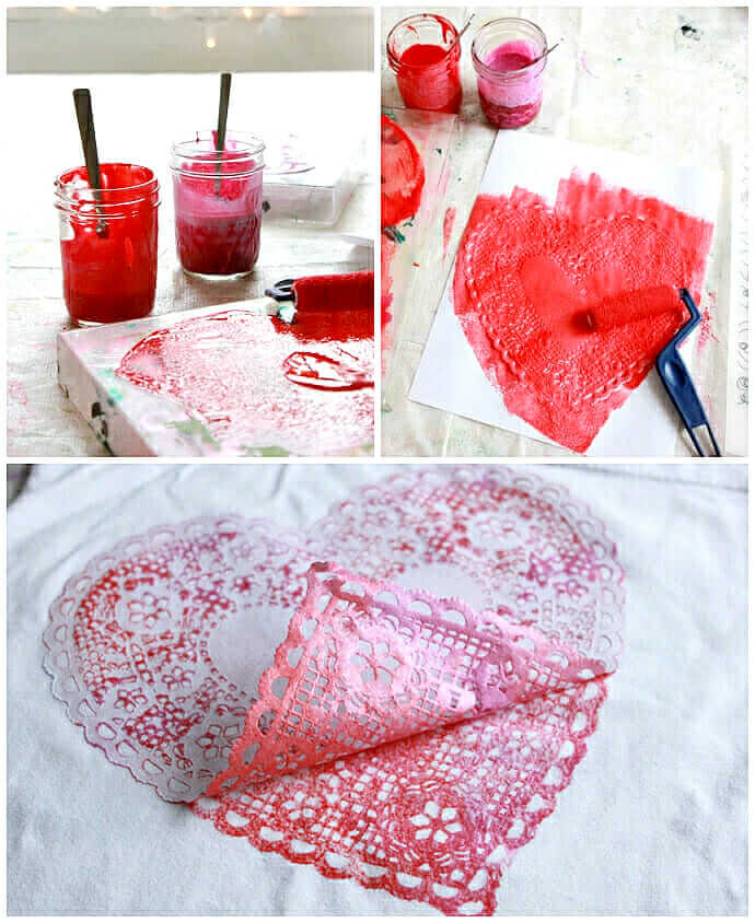 Printing heart doilies on heart pillows