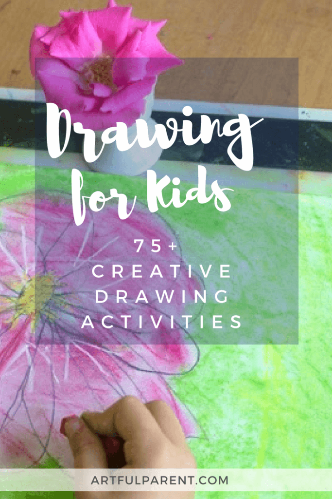 Drawing for kids is worth encouraging! Here are more than 75 creative drawing ideas for kids to encourage creativity, skills, and fine motor development. Includes inspiring drawing prompts, games, tips for improving drawing skills, and ways for connecting through drawing for the whole family! #kidsart #drawinglessons #creativity #artsandcrafts