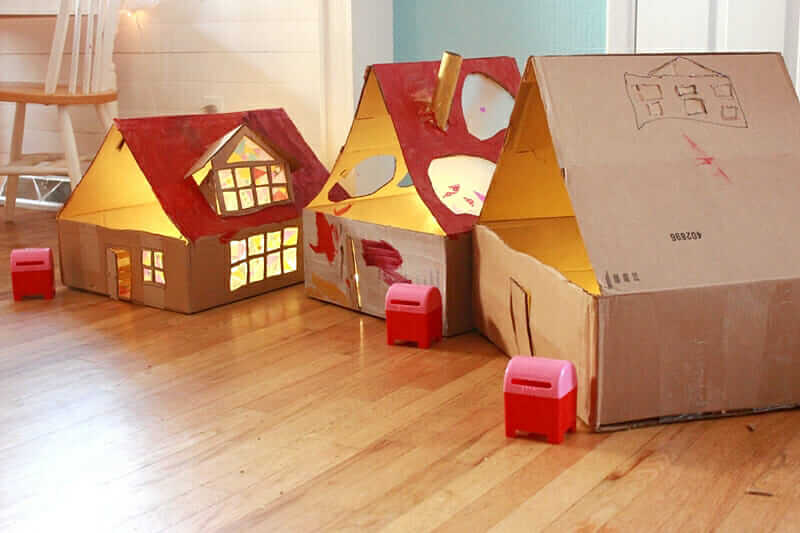 A DIY Cardboard Dollhouse with Lights!