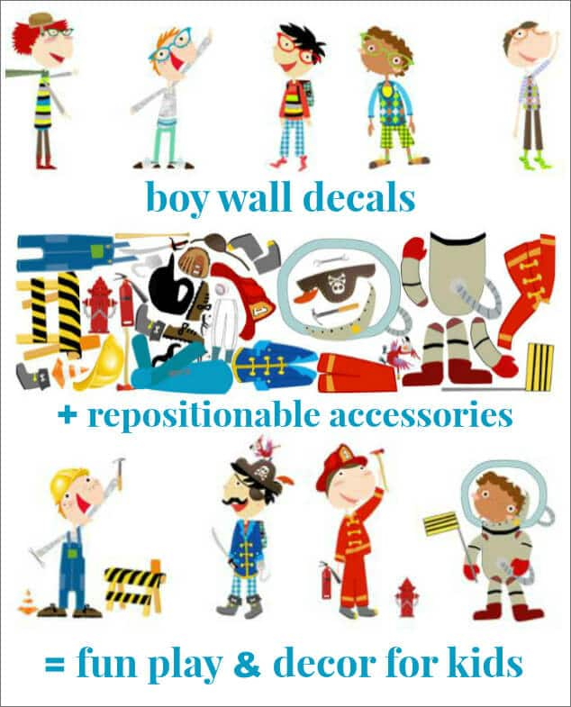 Dress Up Boy Wall Decals and Accessories by Pop and Lolli