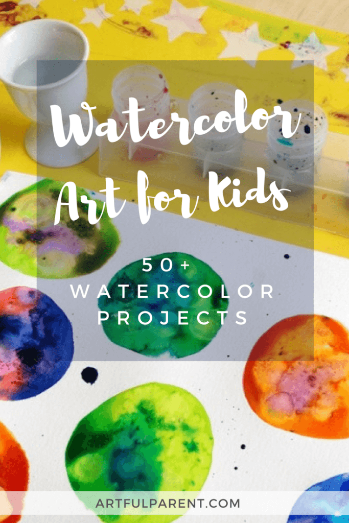 Lots of watercolor techniques for children including salty watercolors, watercolor resist methods, and printing. Over 60 watercolor projects kids will love! #artsandcrafts #watercolor #watercolorpainting #kidsactivities #kidsart