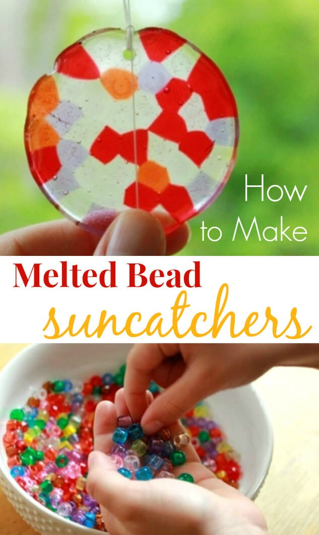 Melted bead suncatchers are easy to make from kids plastic pony beads. Follow these step-by-step instructions to make a beautiful and durable suncatcher. #suncatchers #crafts #craftsforkids #artsandcrafts #bead