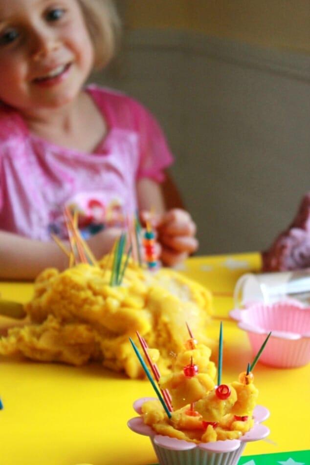 Pretend Play Ideas with Playdough - decorating playdough cupcakes