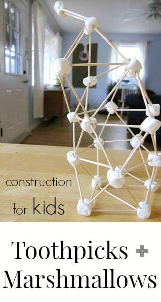 Toothpick and Marshmallow Sculptures for Kids - Construction for Kids