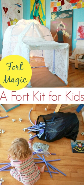 The Fort Magic fort kit for kids combines the construction fun of building blocks with the walk-in size of a playhouse. Great for learning and play! In this post, I show how we built a large igloo with the fort kit. #toys #play #playroom #playmatters #kidsactivities