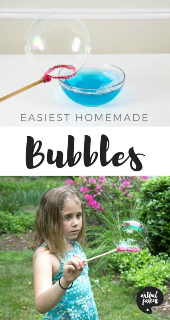How to make homemade bubbles for kids so you have a never-ending supply of bubble solution. This homemade bubbles recipe is easy and doesn't use glycerine. #bubble #summerfun #kidsactivities #homemade