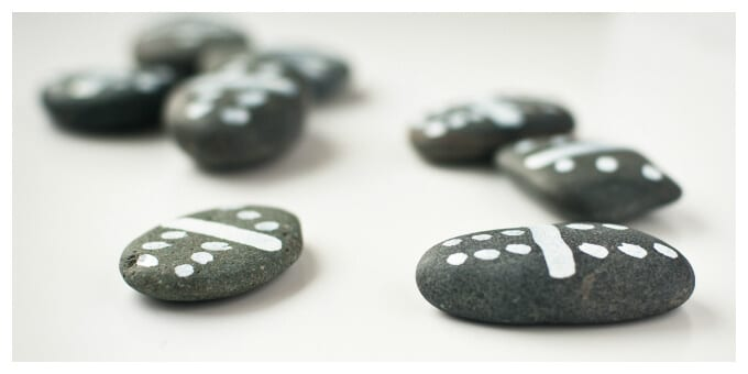 DIY Outdoor Games with Rocks - Sharpie Pen Dominoes