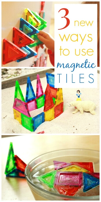 Three unique ways to use magnetic tiles for kids - on the fridge, in water, and in the sandbox. Magnetic tiles are one of the most consistently used toy in our house. They are open-ended and can be used in so many different ways! #toys #kidsactivities #playmatters #play