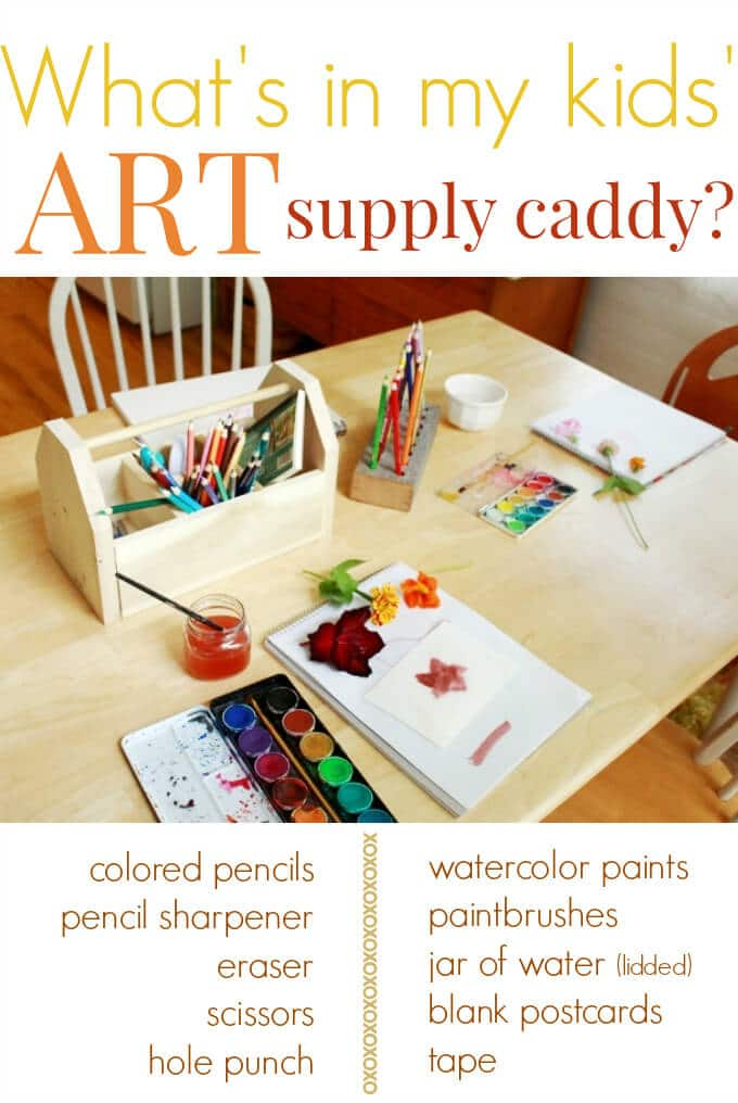 Whats in my kids wooden art supply caddy
