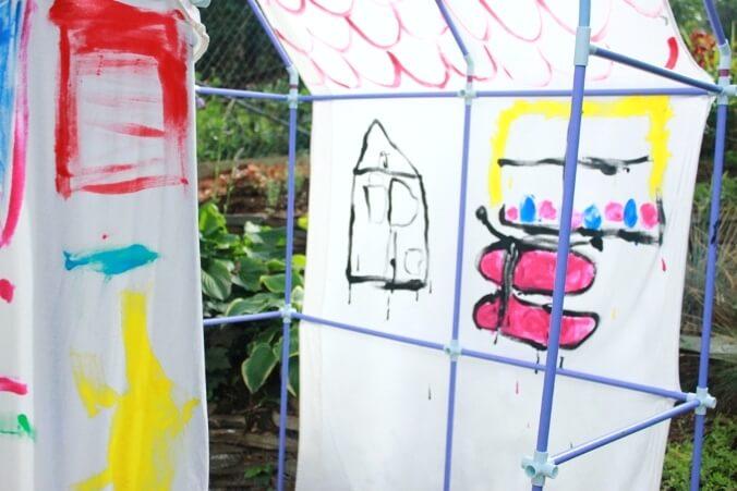 Painting the DIY Backyard Playhouse