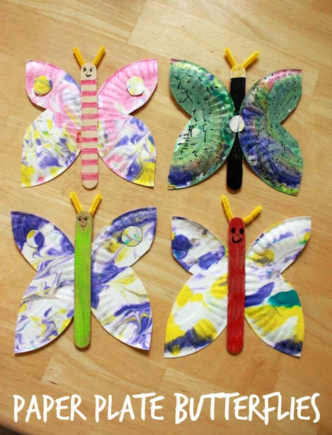 This simple paper plate butterfly craft starts with our favorite shaving cream marbling technique then allows for additional decoration of the butterfly. #butterfly #kidscraft #artsandcrafts #butterfly #kidsactivities #craftsforkids