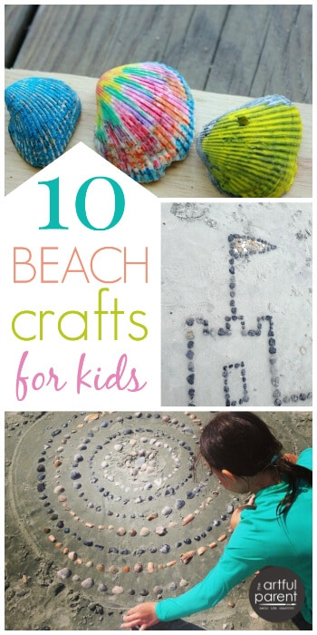 10 fun ocean crafts for kids to make your next beach trip more creative. Includes melted crayon shells, sandcasting, sea shell mandalas, fish paintings. #ocean #kidscraft #beach #artsandcrafts #summerfun #kidsactivities
