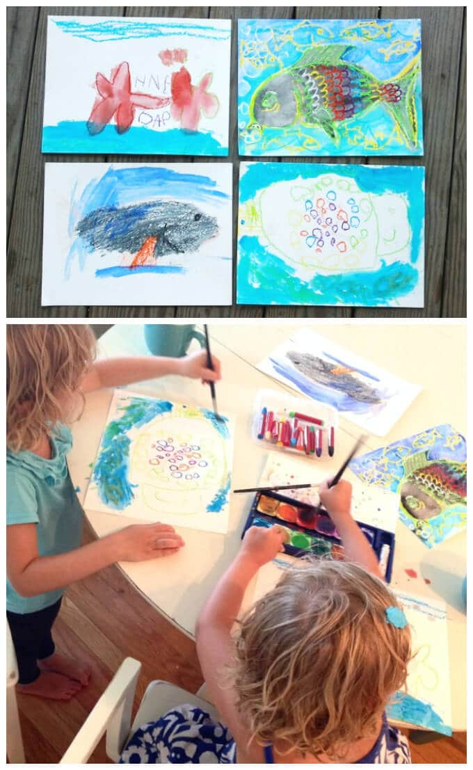 Ocean Crafts for Kids - Watercolor Resist Fish