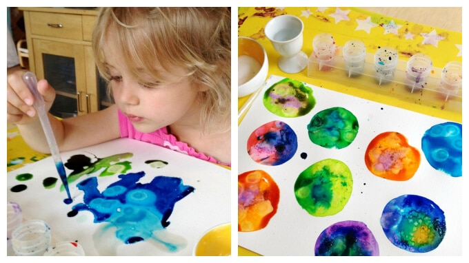 Watercolor Techniques for Kids with salt and alcohol