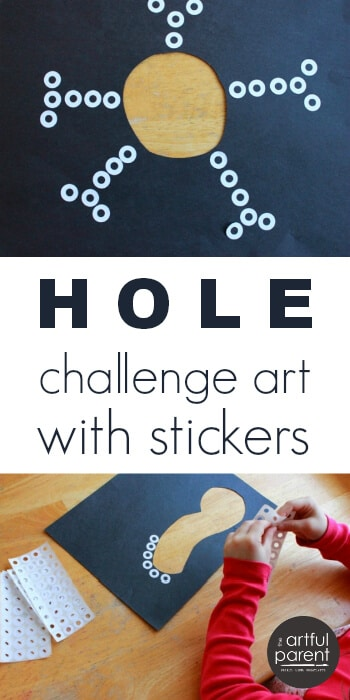 Easy Kids Art Projects - Hole Challenge Art with Stickers