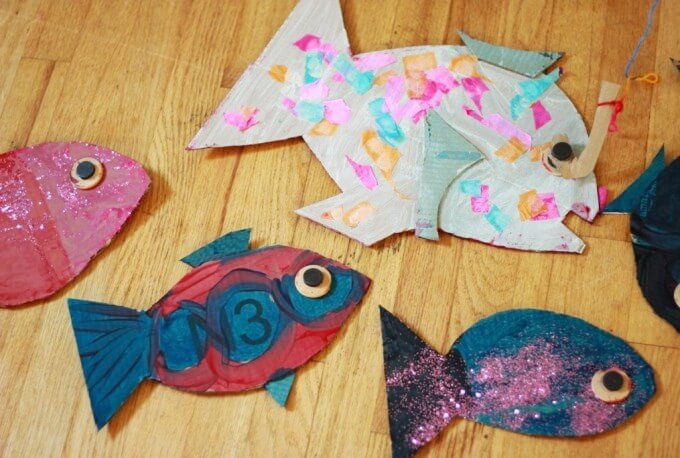 Painted Cardboard Fish for the DIY Fishing Game