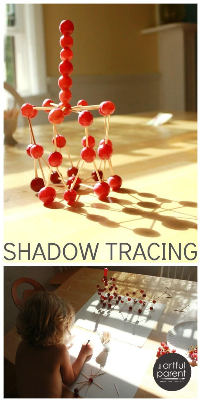 Shadow Tracing Art for Kids with Grape Sculptures and Imagination