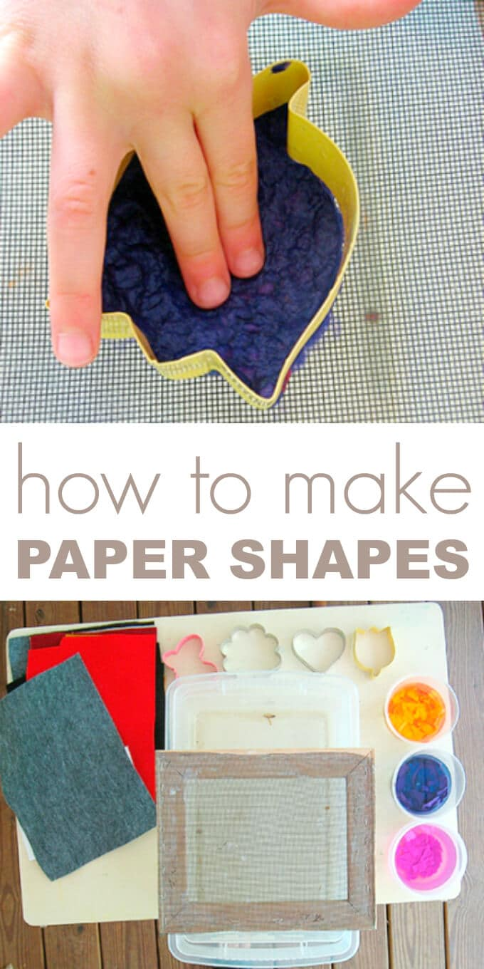 Paper making for kids can be easy and interesting with this step by step tutorial for making handmade paper shapes. Use for cards or as seed paper shapes.