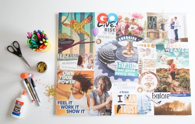 How to Make a Vision Board with magazine images, glue, and poster board