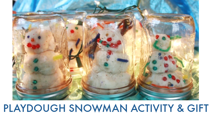 Snowman Playdough Gift in a Mason Jar