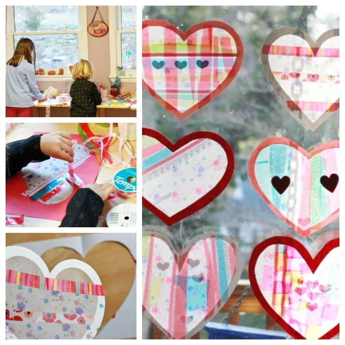 How to Make Valentines Day Heart Suncatchers with Contact Paper