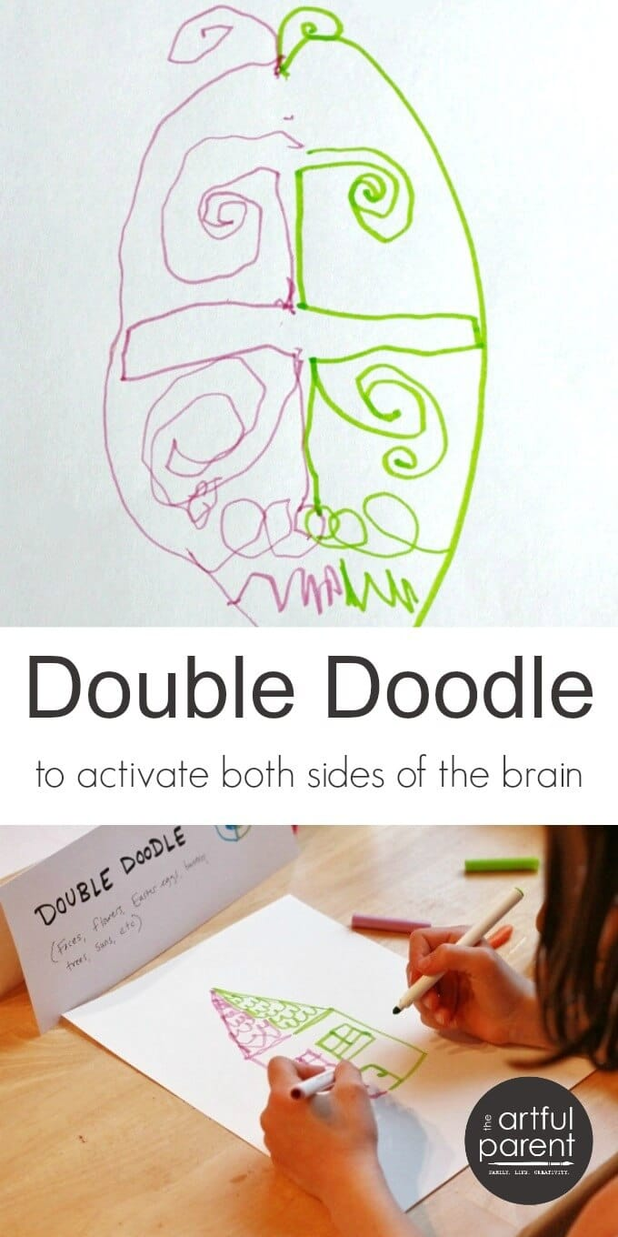 Double doodle art is fun, relaxing, and a great way to exercise the brain as it uses both sides of the brain simultaneously. Here's how, plus some examples. #drawings #kidsart #kidsactivities #artsandcrafts #artforkids