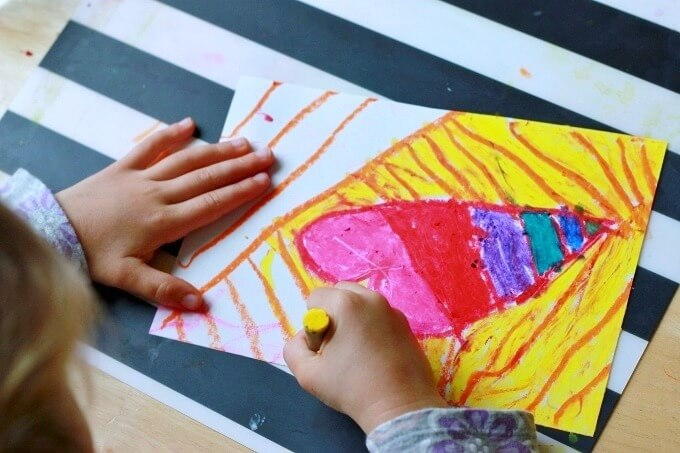 Making our own scratch art paper with oil pastels and paint