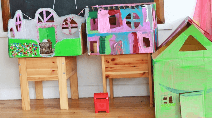 Diy fairy houses from cardboard boxes for How to make a house from cardboard box