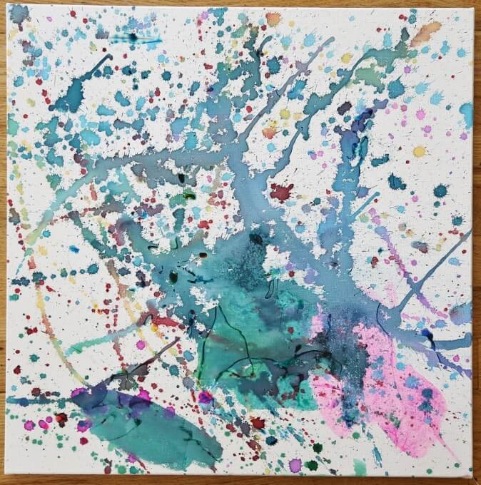 Glue Art on Canvas with Liquid Watercolor Paint