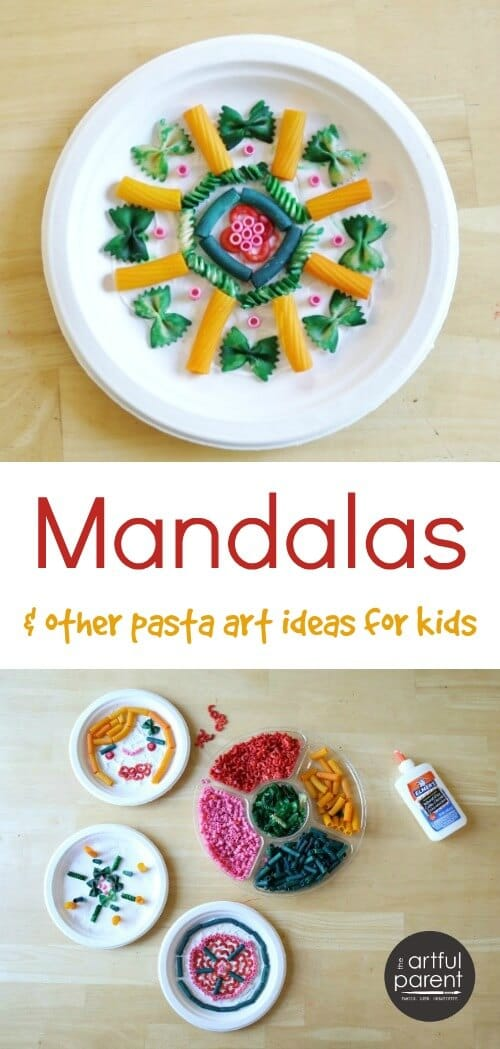 Fun pasta art activities for kids (sculptures, clay, mandalas) plus instructions for coloring your own pasta shapes to use in kids crafts. #kidsart #kidsactivities