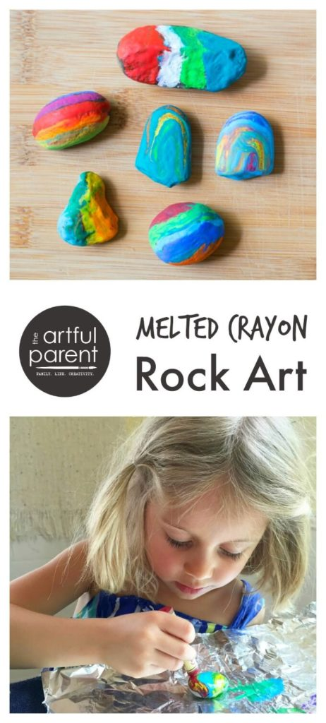 Making melted crayon rocks
