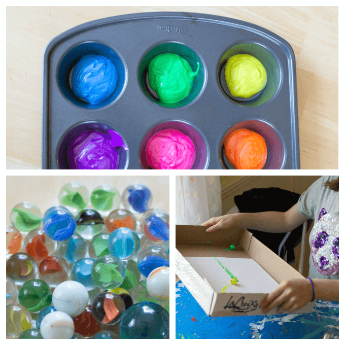 Marble Painting for Kids is a FUN Action Art Activity! (with Video)