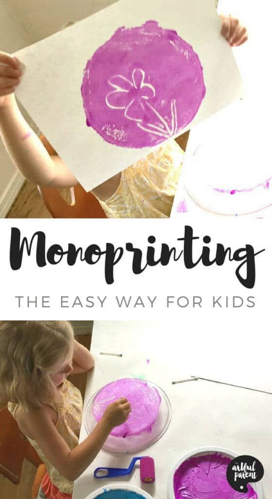 The easiest and best way to do monoprinting with kids involves spreading the paint on a plexi sheet or frame with a roller and drawing a design with a Qtip. #kidsart #kidsactivities #printmaking #artsandcrafts